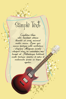 illustration of guitar with text template on abstract backgroud