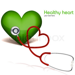 illustration of healthy heart with stethoscopeon white background