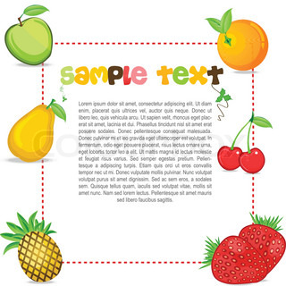 illustration of text template with fruits