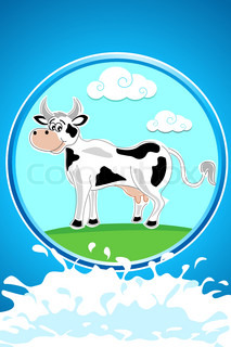 illustration of happy cow on abstract