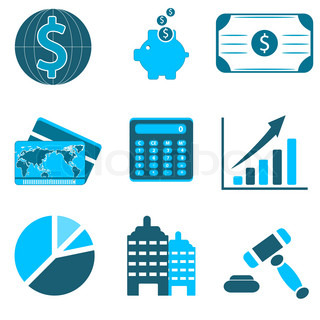 illustration of business icons on white background