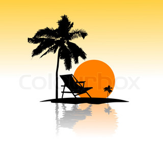illustration of sea beach card on isolated background