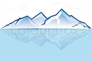 illustration of mountain with river on white background