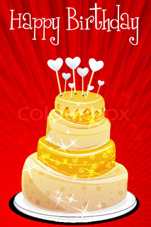 illustration of abstract birthday card with cake