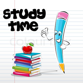 illustration of study time card with apple book and pencil on notebook page
