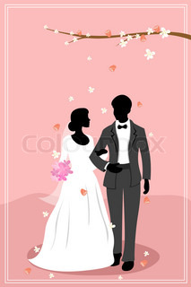 illustration of married couple in flowery background