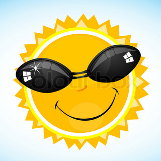 illustration of cool sun smiling in sky
