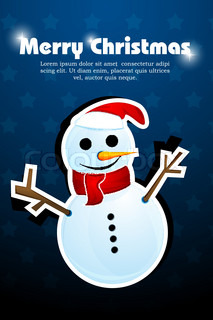 illustration of abstract christmas card with snowman