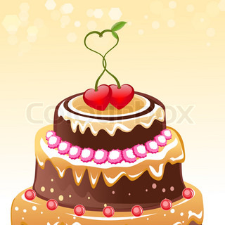 illustration of birthday card with hearts on white background