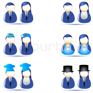 illustration of set of human icon of different profession on white background