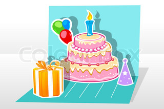 illustration of birthday cardwith gift cake balloon on abstract background