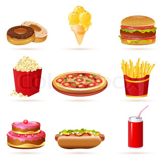 illustration of junk food icons on white background