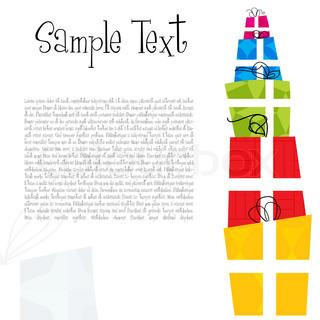 illustration af fødselsdagskort med gaver på hvid baggrund