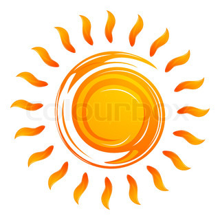 illustration of warming sun on white background