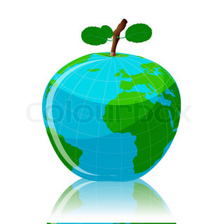 illustration of global fruit on white background