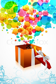 illustration of birthday card with colorful bubbles