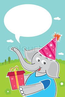 illustrtion of elephant with birthday gift
