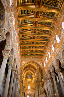 gold painted ceiling of Monreale Cathedral, Sicily