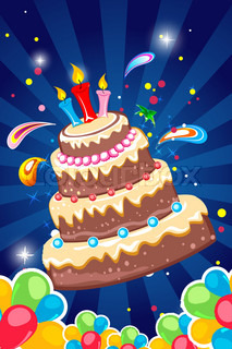 illustration of cheerful birthday card on white background