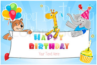 illustration of birthday card with toys