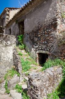 abandoned medieval stone country house in Sicily