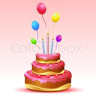 illustration of birthday card with cake and balloons