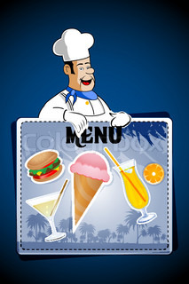illustration of cook with junk foods on abstract background