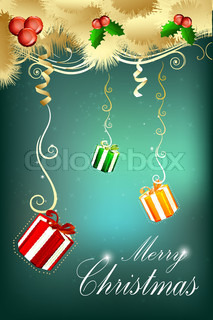 illustration of abstract merry christmas card on white background