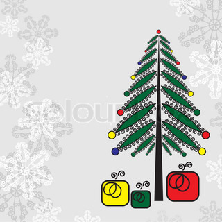 Christmas background - Christmas tree and presents.