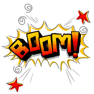 illustration of boom with stars on white background