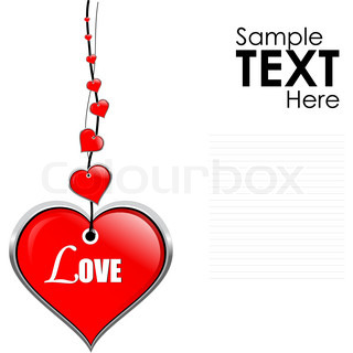 illustration of hanging vector heart accessory on isolated white background with sample text