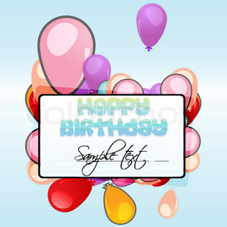illustration of birthday card with balloons