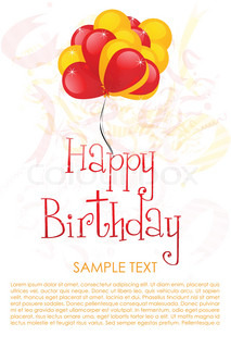 illustration of birthday card with bunch of balloon and text template