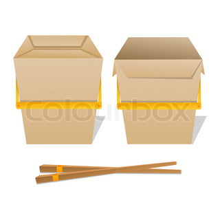 illustration of noodles box on white background