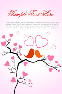 illustration of valentine card with birds and heart on white background