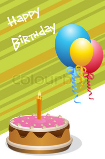 illustration of birthday card with cake & balloons