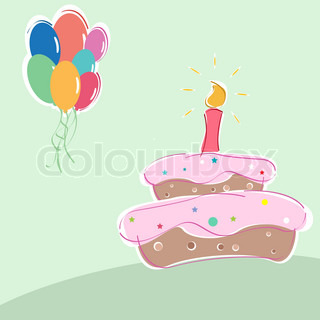 illustration of vector birthday with cakes candles and balloons