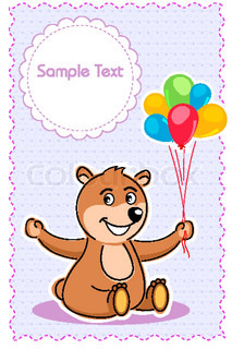 illustration of birthday card with balloons and taddy