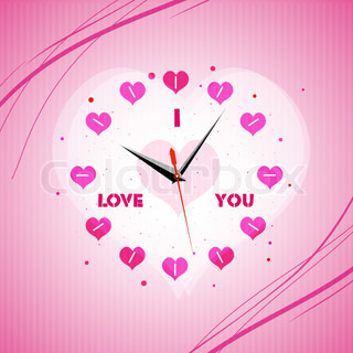 illustration of valentine clock