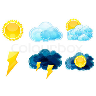illustration of types of weather with sky, sun on white background