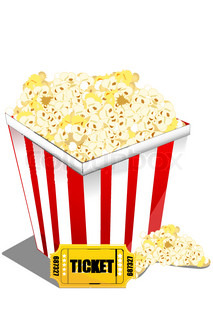 illustration of pop corn with ticket on an isolated background
