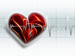 red heart on an electrocardiogram graph - a symbol of health