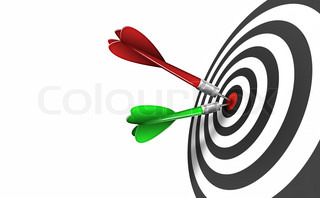 shot of darts in bullseye on dartboard isolated on a white background