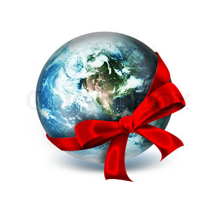 red ribbon around the planet - abstract design or art element for your projects