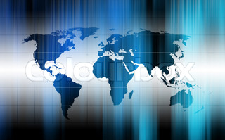 modern fluorescent background with world map