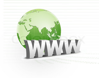 illustration of www with globe on line background