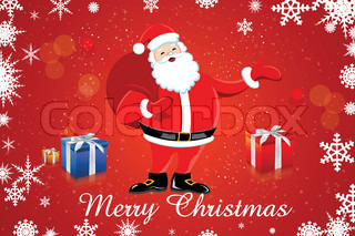 illustration of santa claus with his bag and gifts on snowy background
