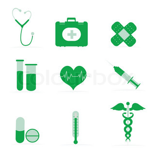 illustration of collection of medical icons on isolated background