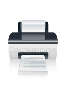 illustration of vector color printer device on isolated background