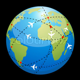 illustration of globe showing air route